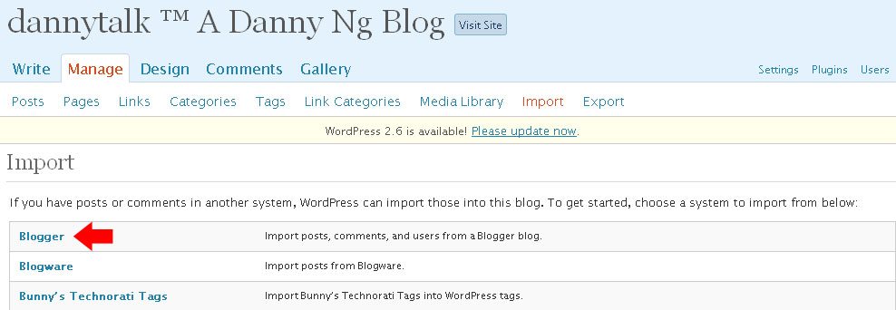 Wordpress - Import Blogger