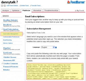 feedburner email subscription management